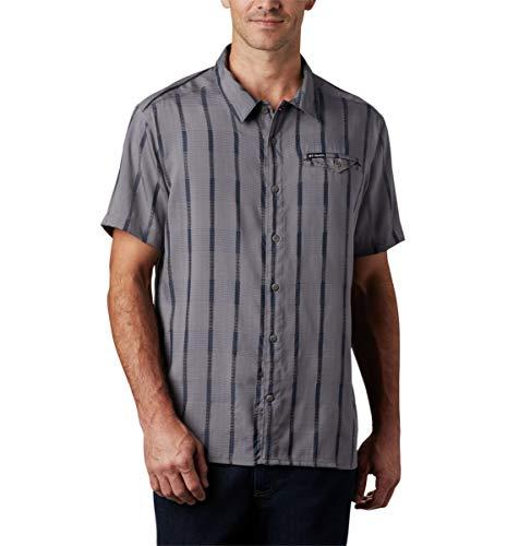 Columbia Men's Vapor Ridge III Long Sleeve Shirt, Light Grey Houndstooth Grid, Small