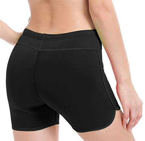 Women's Wetsuit Shorts Neoprene Compression Yoga Short Pants for Exercise Swim Water Sports (Black-Middle Cut, S)