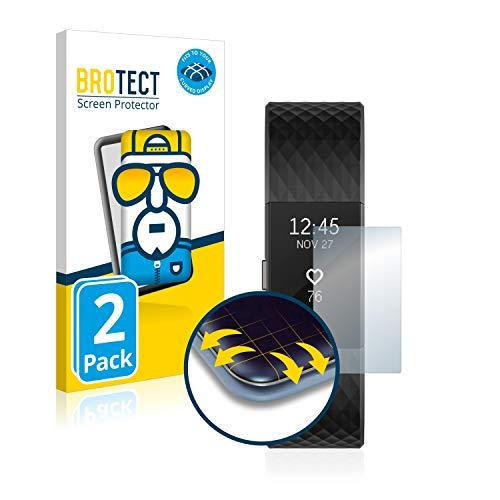 BROTECT Full-Cover Schutzfolie kompatibel mit Fitbit Charge 2 (2 Stück) - Full-Screen Displayschutz-Folie, 3D Curved, Kristall-Klar