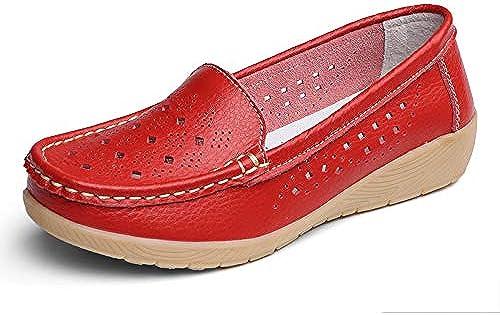 LIANGXIEW zapatos Basse mujer,Vintage Original Ronda Casual Puntera Cerrada Hollow Cómodo Y Suave Cuero Natural Mocasines con Suela De Goma Suave Barco rojo zapatos Damas zapatos Planos Exterior
