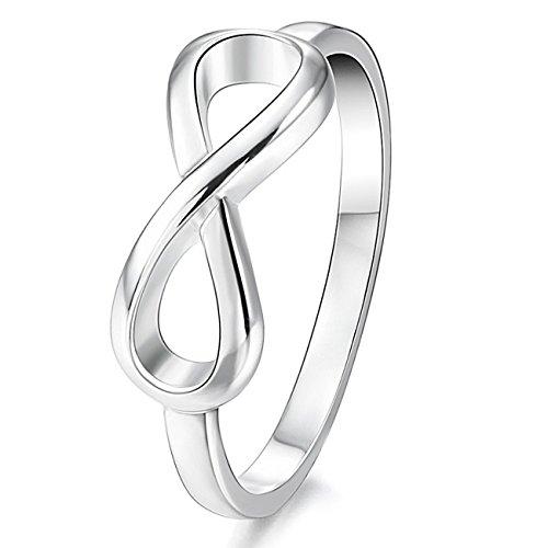 MunkiMix 925 Plata Banda Venda Anillo Ring El Tono De Plata Infinito Infinity Símbolo Alianzas Boda Talla Tamaño 22 Mujer