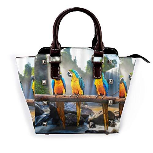 BROWCIN Papagei Niedliche Papageien Vögel Blau Gelb Federbaum Ast Wasserfall Felsen Grüne Pflanzen Sonnenlicht Natur Szenisch Abnehmbare mode trend damen handtasche umhängetasche umhängetasche