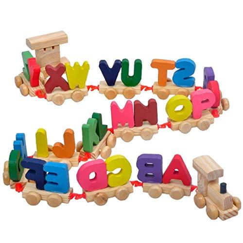 shentaotao 1 Set Carta Tren de Madera del Tren de Letra del Alfabeto de ABC de Tren Piso Rompecabezas de Madera Tren de Juguete de Juguetes educativos para niños preescolares