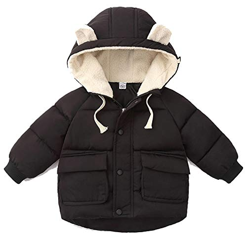 Infant Girl Jacket Autumn Winter Baby Coat Cotton Hooded Warm Outerwear Kids Coat Newborn Jackets Black 12M