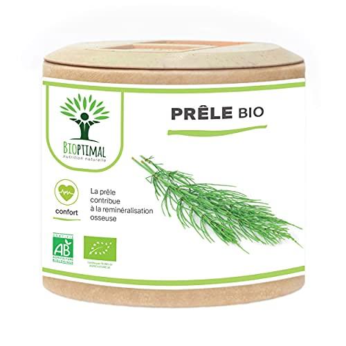 Prêle bio - Silicium Organique - Complément alimentaire Bioptimal - Prêle des champs en gélule de 300 mg - Articulation Diurétique Peau Cheveux - Fabriqué en France - Certifié par Ecocert - 60 gélules