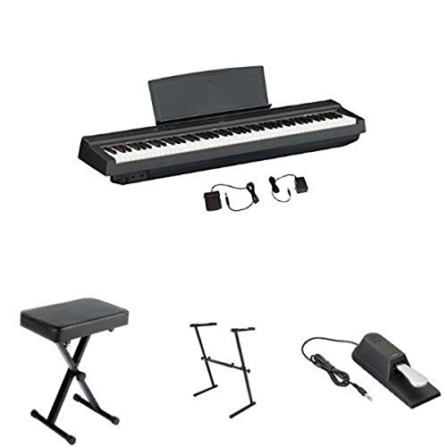 Yamaha P125 Digital Piano Bundle with Z Stand, Bench and Sustain Pedal, Black
