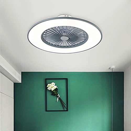 Dormitorio Ventilador Techo Con Luz Con Mando APP Infantil Lights 3 Velocidades LED Regulable Lamparas Ventilador De Techo Y Temporizador Ultradelgado Silencioso Ventilador Techo Con Luz,Gris