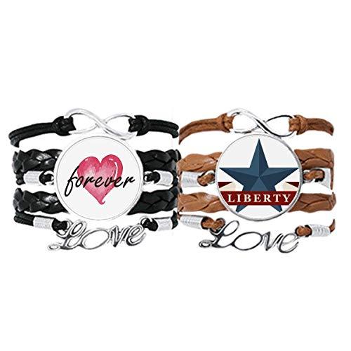 Bestchong Pentagram Liberty Slogan America Country City - Pulsera de mano con correa de cuero para siempre amor