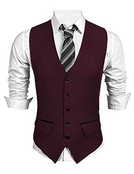 COOFANDY Men s Suit Vest Slim Fit Business Wedding Waistcoat Wine Red