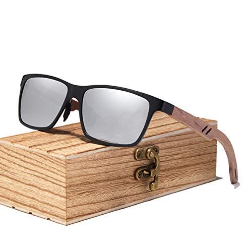 UKKD Gafas De Sol Mujeres Hombres De Madera Gafas De Sol Polarizadas Gafas De Sol De Madera para Las Mujeres Lente Espejo Hecho A Mano Accesorios para Gafas-Silver Walnut Wood