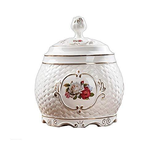 LKYBOA Ceramica Rice Bagagli Vasi della Cucina della casa di immagazzinaggio Organizzazione Farina Serbatoio Ceramica di Copertura Rice Jar Tea Leaf (Size : 20cm)