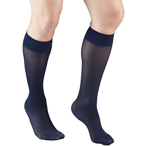 Truform Sheer Compression Stockings, 8-15 mmHg, Womens Knee High Length, 20 Denier, Navy, Medium