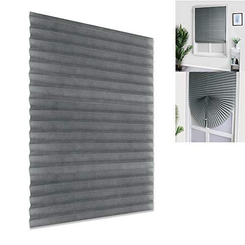 Chen - Persianas verticales plisadas de tela no tejida, plisadas, persianas de privacidad temporal instantánea para ventana o puerta, aspecto triturado, Gris, 60*150cm