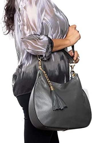 Italian Gray Calf Leather Hobo Shoulder Bag Handbag By Vittoria Pacini