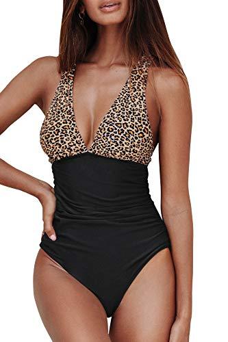 CUPSHE Damen Badeanzug V Ausschnitt Überkreuzte Träger Tierdruck Bauchweg Einteilige Bademode Swimsuit Leopard XL