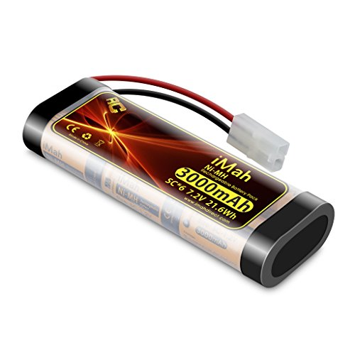 iMah SC6 7.2V Battery Pack 3000mAh Ni-MH Rechargeable with Standard Tamiya Plug for RC car Truck Boat, Also Compatible with The RadioShack 23-330 23-330A Ni-cd R/C Car Battery Pack 7.2v 2000mAh