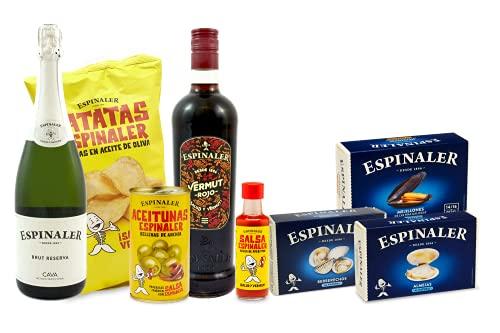 Espinaler cesta gourmet aperitivo | Pack regalo con cava brut reserva, vermut rojo, salsa Espinaler, patatas fritas, aceitunas rellenas de anchoa, berberechos, almejas y mejillones | Ideal para regalo