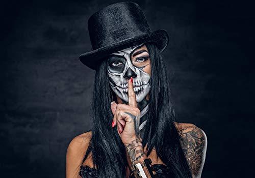 wandmotiv24 Fototapete Frau Gesicht Totenkopf, L 300 x 210 cm - 6 Teile, Fototapeten, Wandbild, Motivtapeten, Vlies-Tapeten, Mexiko Indianer Tattoo Portrait M6509