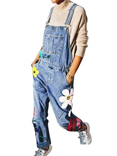 Onsoyours Jeanslatzhose Damen Latzhose Retro Jeanshose Trägerhose Hoseanzug Denim Blumen Overall Gerades Bein Lang Trägerhose Ärmellos Locker mit Taschen C Blau Medium
