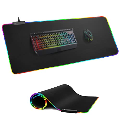 RGB Gaming Mouse Pad, BZseed Large XXL(35.5x15.7in) Extended Soft Led Mouse Pad with 12 Lighting Modes 2 Brightness Levels, Non-Slip Rubber Base, Computer Keyboard Pad Mat for PC/Laptops/Office Desk