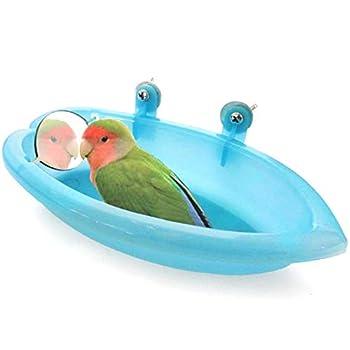 TINGB Oiseau Baignoire Perroquet Baignoire Baignoire Alimentateur Bol Oiseau Bain avec Miroir Jouet pour Pet Petit Moyen
