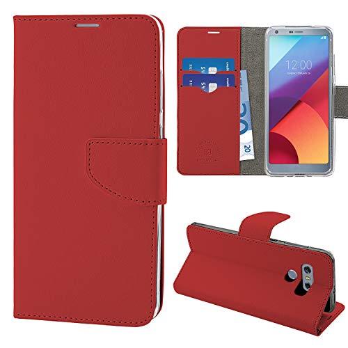 N NEWTOP Cover Compatibile per LG G6, HQ Lateral Custodia Libro Flip Chiusura Magnetica Portafoglio Simil Pelle Stand (Rossa)