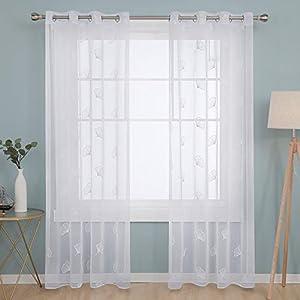 Deconovo Cortinas Visillos para Ventana Cortina Traslúcida Decorativo con Ollaos para Salón Oficina 2 Piezas 140 x 240 cm Blanco