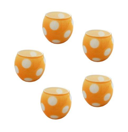trendfinding 5 x Glas Teelichthalter Kerzenhalter Kerzenständer Windlicht für Teelichter Punkte gepunktet orange