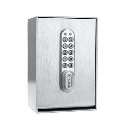 masunt Schlüsseltresor 2120 E Code | Innovative Online-Codevergabe aus der Ferne | elektronischer Schlüsselsafe aus massivem V2A Edelstahl | maximale Sicherheit | wetterfest | Silber