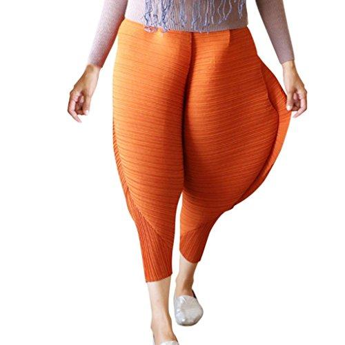 New! Tootu Women's Plus Size Chicken Pants Novelty Solid Loose Pants Leggings (L, Brown)
