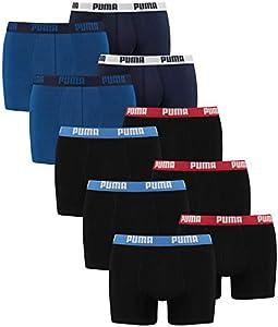 PUMA 521015001 - Calzoncillos tipo bóxer para hombre (10 unidades, talla L), 2 unidades de 2 azules + 3 unidades de 2 negros con rojo/azul