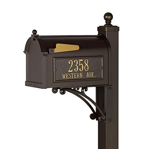 Whitehall Products French Bronze Deluxe Mailbox Package