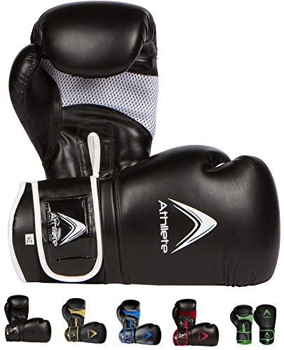 Athllete Training Boxing Gloves (Black/White, 8 oz)