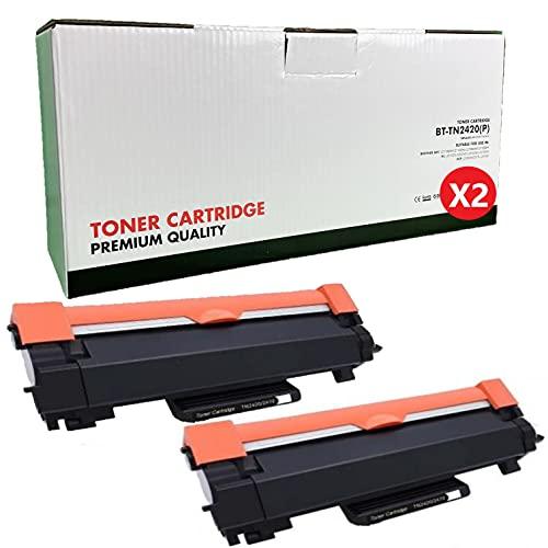 TN-2420 TN2420 Cartucho Tóner Compatible para Brother MFC-L2710DN MFC-L2710DW MFC-L2730DW MFC-L2750DW DCP-L2550DN DCP-L2530DW DCP-L2510D HL-L2375DW HL-L2370DN HL-L2350DW HL-L2310D (2 Negro)