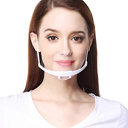 MINASAN 10 Stück Half Face Visier Kunststoff Klarer Gesichtsschutz Elastisch Komfortabel Tragender Mundschutz für Chef Snack Bar Kitchen Restaurant Usual (Weiß, Einheitsgröße)