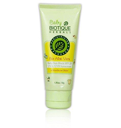 Biotique Aloe Vera Baby Sun Block SPF 20 UVA UVB Sunscreen, 50g