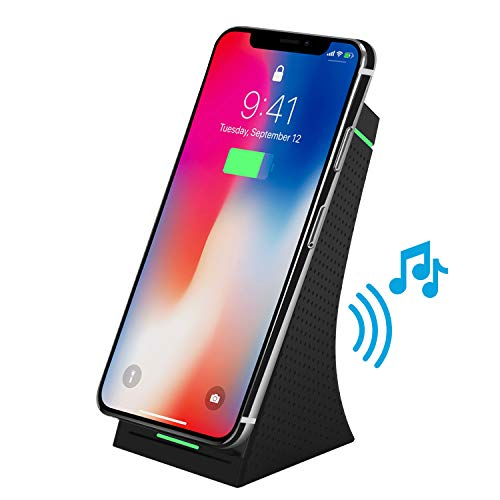 TKOOFN Cargador Inalámbrico Rápido con Altavoz Bluetooth, 2 en 1 Qi Inalámbrica Carga Rápida con Bocina Bluetooth 4.2, Wireless Quick Charger para Todos los móviles habilitados para QI