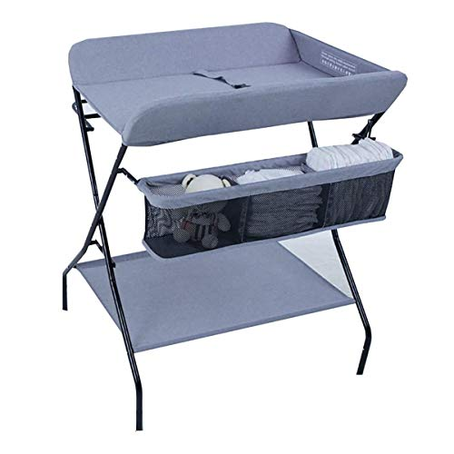 JALAL Table à Langer Bleue pour bébé garçon, pépinière Pliante portative Masseuse Commode Station de Stockage Organisateur pour Petit Espace, 0-3 Ans