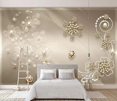 Muurschildering Moderne minimalistische modesieraden parel sticker slaapkamer woonkamer tv-achtergrond interieur 450cm x 300cm