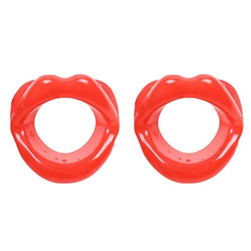 Supvox 2pcs Silikon Gesicht schlanker Mund Straffer Gummi Gesicht Übung Lippen Trainer Facelift rot