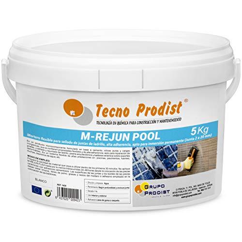 M-REJUN POOL de Tecno Prodist - (5 kg) Mortero flexible para sellado de juntas de baldosas y gresite en piscinas, ceramica, ladrillo, etc, apto para inmersión permanente (Junta 2 a 20 mm) Color Blanco