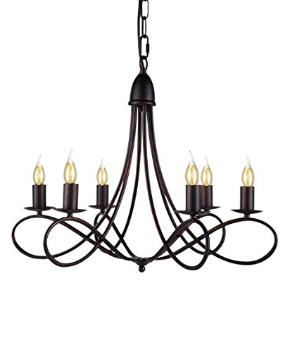 Elegant Lighting Lyndon Collection 6-Light Pendant Lamp, Dark Bronze Finish