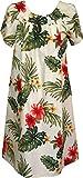 RJC Women's Tropical Summer Hibiscus Muumuu Dress, Beige, L