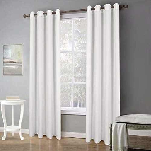 "MvchennL Rich Natural Linen Blend Curtains Soft Grommet Drapes 2 Panels Light Reducing Thick Semi Sheer for Patio Door/Living Room Window Treatment, White, 55"" Wx102 L"