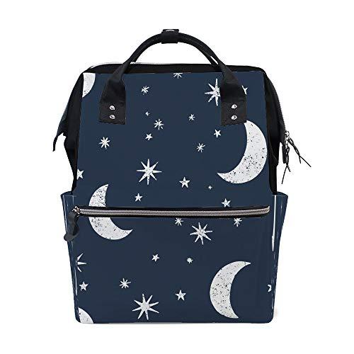 Mochila escolar de viagem, faculdade, bolsa escolar, sem costura, lua, estrelas, céu noturno, mochilas de decoração para homens e mulheres