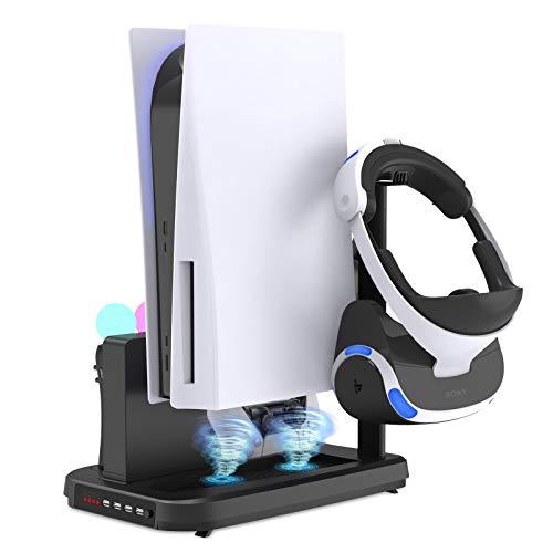 FASTSNAIL Vertikaler Ständer für PS5 Digital Edition/Ultra HD-Konsole mit Lüfter und Controller-Ladestation, Ladestation für VR Move Motion Controller