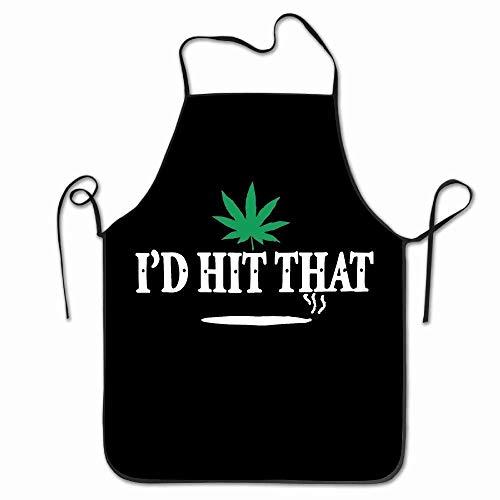 Aoleytech Kitchen Apron I'd Hit That Marijuana Pot Weed Stoner Apron for Baking, Crafting, Gardening, Cooking