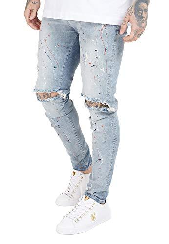 Sik Silk Jeans SS-16338 - Rodillera para hombre, color azul