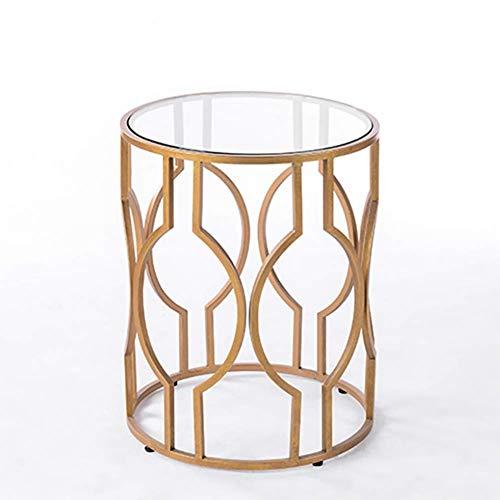 Moter pequeña mesa auxiliar de café dorado y sala de estar cubierta superior de cristal salón sofá esquina y pequeña mesa redonda