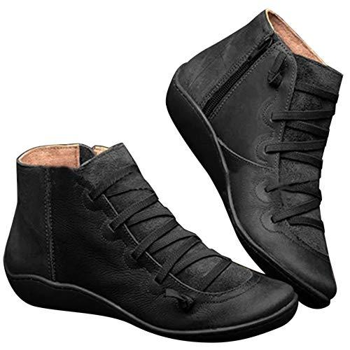 MoneRffi Damskie płaskie obcasy botki sznurowane boczny zamek błyskawiczny wodoodporne skórzane buty do chodzenia wygodne vintage codzienne buty outdoorowe dla kobiet czarne